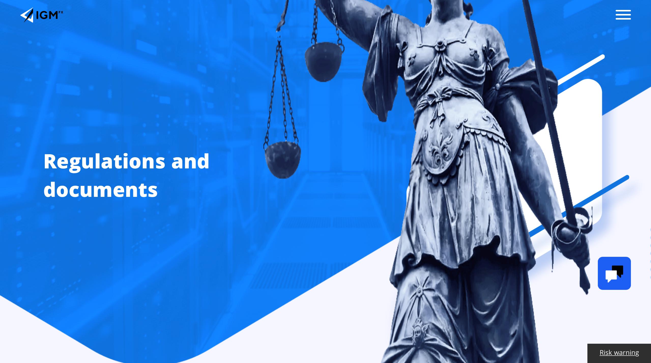 Regulierung und Dokumente auf der offiziellen Webseite von IGM FX