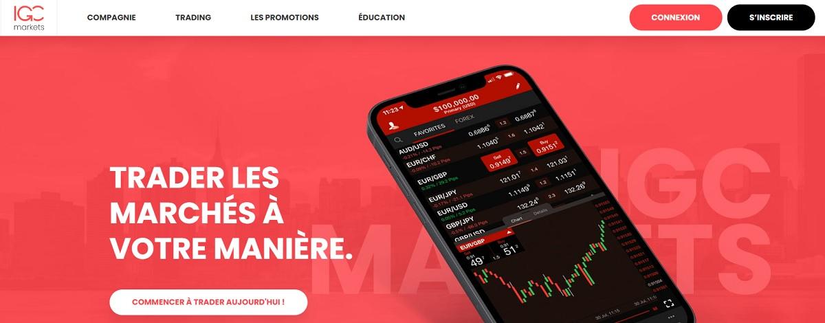 page d'accueil IGC Markets